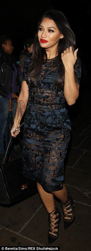 Statement dress:The Saturdays star Vanessa White ignored the winter chill, showing up in ...