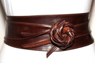 Dark Brown Obi Leather Belt Size S to M - Ladies Corset Wrap Sash Belt - 3 inches wide Belt by ilovebelts for $35.00