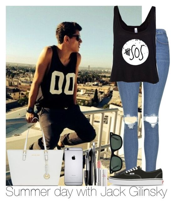 """Summer day with Jack Gilinsky"" by irish26-1 ❤ liked on Polyvore featuring Topshop, Vans, MICHAEL Michael Kors, Lancôme and Ray-Ban"
