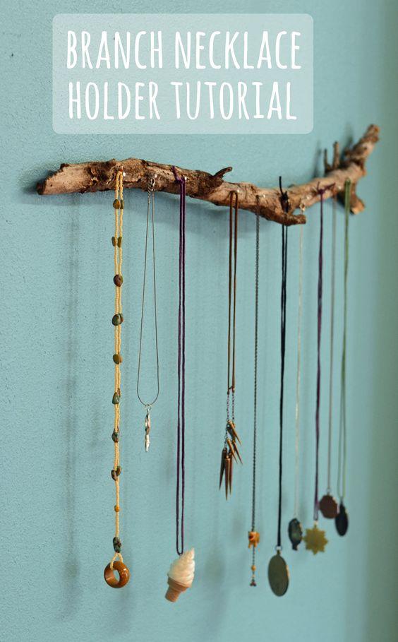DIY branch necklace holder
