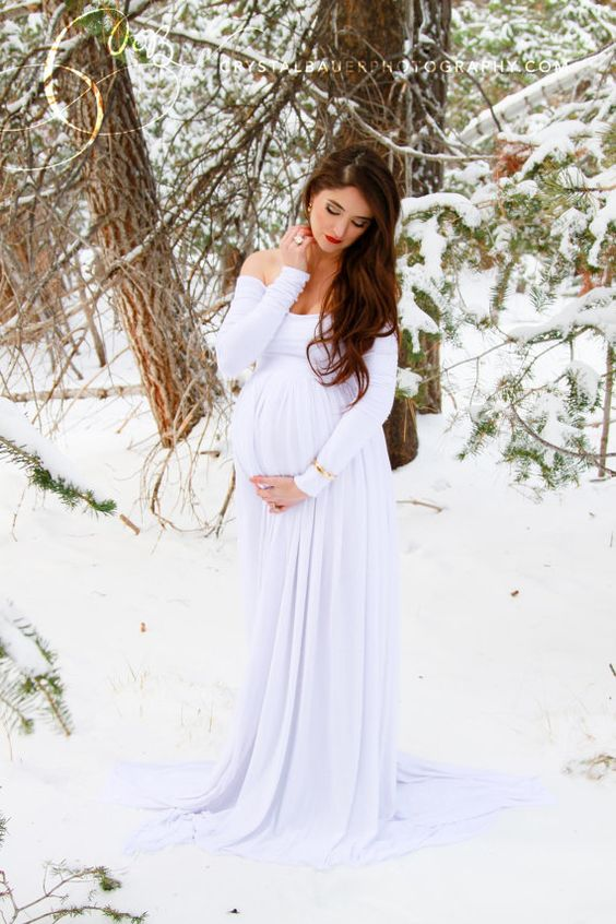 Long sleeve Maternity Gown / Miriam style by SewTrendyAccessories