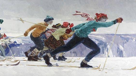 Талалаев Анатолий Николаевич (Россия, 1929-1989) «Лыжники» 1961