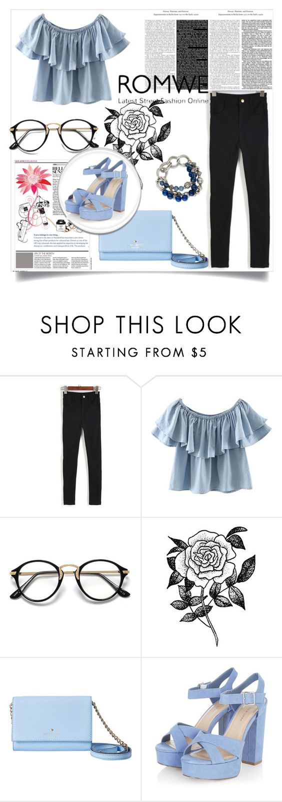 """ROMWE!"" by zenabezimena ❤ liked on Polyvore featuring Chicnova Fashion, Forever 21 and Kate Spade"
