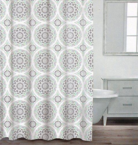 Caro Home 100% Cotton Shower Curtain Ornate Medallion Fabric ...