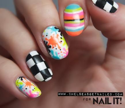 Paint splatter and checkerboard nail art