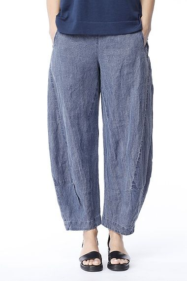 denim linen pants - Pi Pants