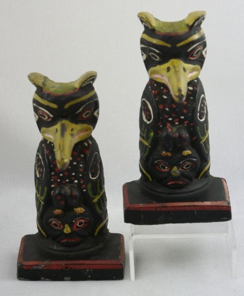 Totem Pole Bookends:
