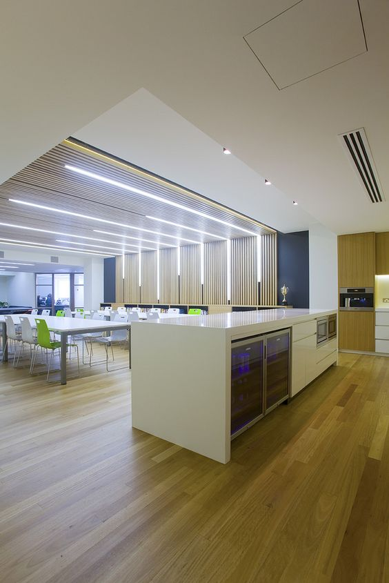 Awesome Wall To Ceiling Finish Lighting In This Office Break Room Office Interiors Pinterest