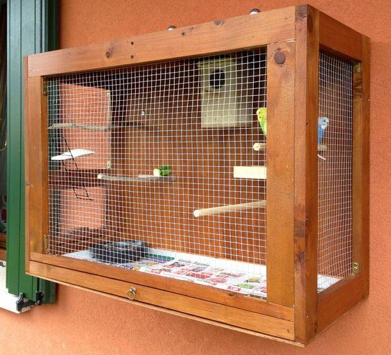 Voliera x cocorite fatta a mano con legno riciclato che for Voliera fai da te