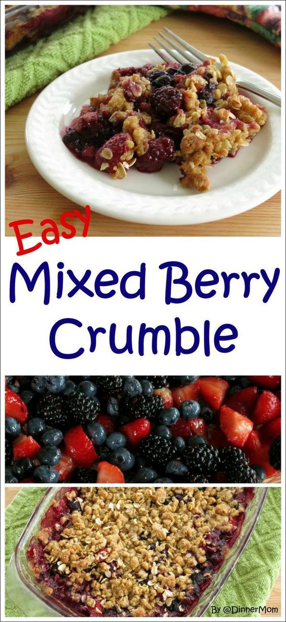 Mixed Berries with an Oatmeal Crumble Topping - this is such an easy recipe and is lovely with ice cream too!! #SundaySupper