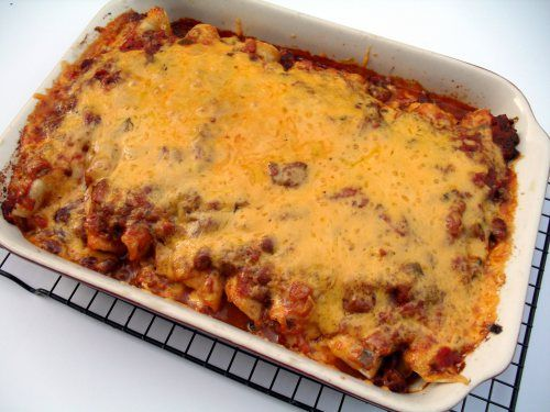 chili dog casserole---use manicotti noodles instead of tortillas, cook first and wrap with cheese then fill noodle
