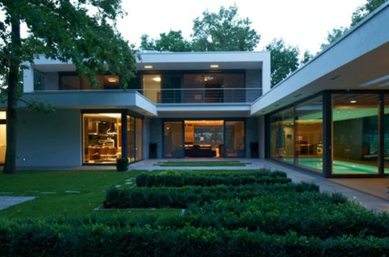 Fabulous modern residence # lush gardens # with indoor pool: Indoor Pools, Rooftops Pools, Derarchitects House, Lush Garden, Villa F Der Architects 1 Jpg, Dér Architects, Amazing Architecture