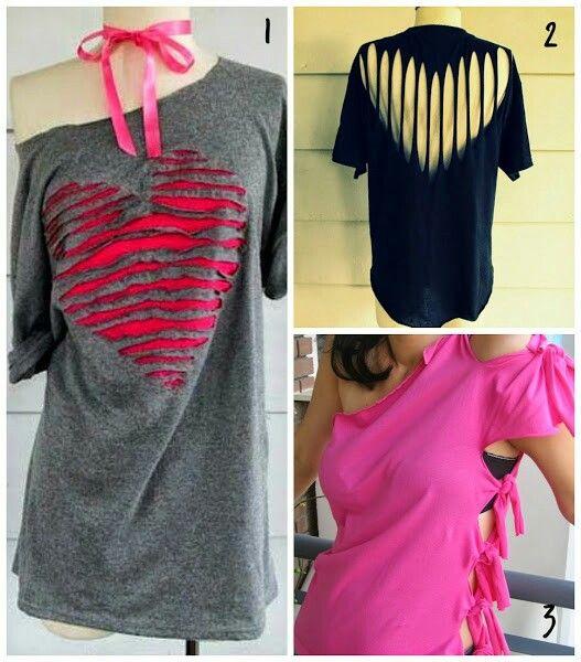 Varias formas de tunear una camiseta ropa pinterest - Decorar camisetas basicas ...
