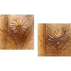 Quadro Par Margarida/Rosa Artesanal (30x30x6cm) Uniart