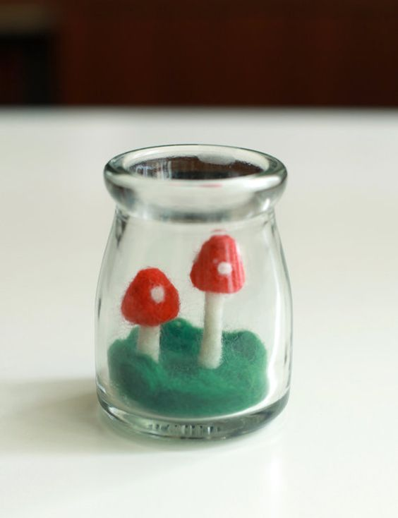 Needle Felted Mushroom in a glass bottle