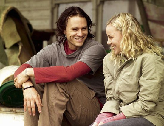 heath ledger and abbie cornish on the set of the