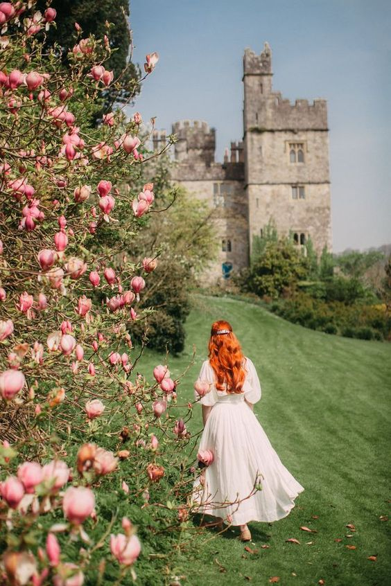 Castle gardens in spring--is there any better place to be? It's easy to imagine yourself in the Regency Era wandering down these green lanes of trees and flowers, exchanging small talk, and contemplat