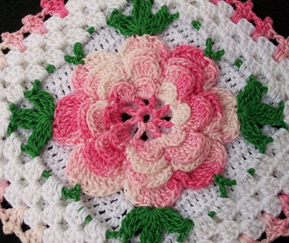 Crochet Flower Pattern Thread : Thread crochet flower potholder, crocheted from vintage ...