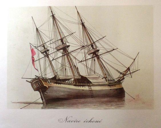 "Roux's Marine Print - """"NAVIRE ECHOE"""" - Large Lithograph - 1963"