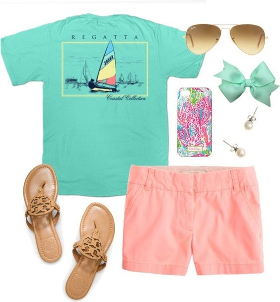 Preppy casual. Love this! But i would do jack rogers, and I don't really like the bow