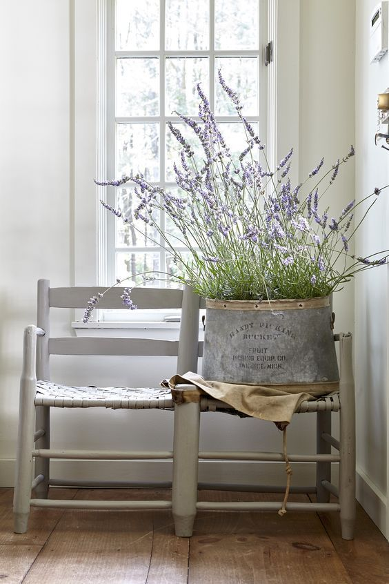 French Country decor vignette with lavender. European Farmhouse Rustic Decorating Ideas.