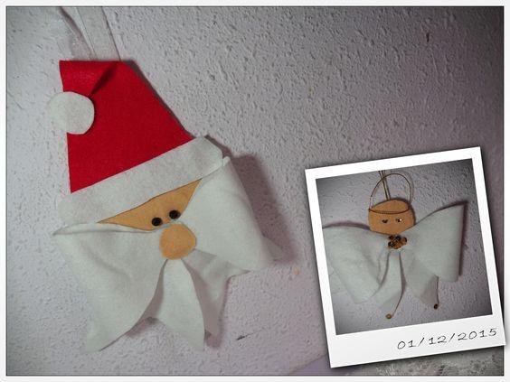 ORNAMENTO DE NAVIDAD Santa y un angel