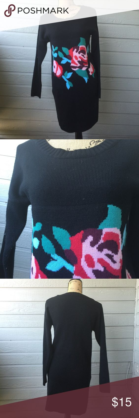 Rose Sweater Dress Good condition, heavy and warm. Stretchy Miami Dresses Long Sleeve