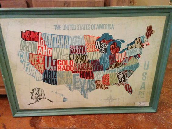 United States with every state's name written inside its shape.