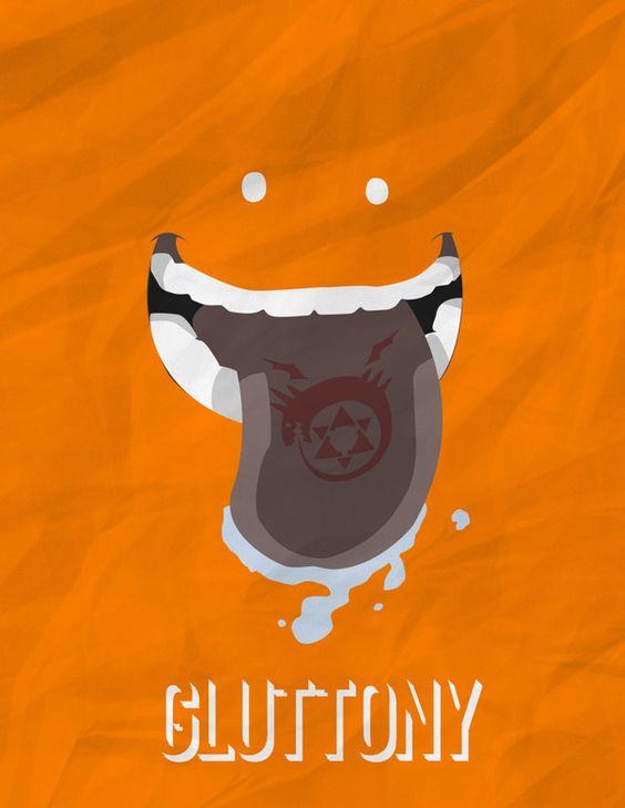 Minimalist Posters of Homunculi by Kyle Valenzuela - Gluttony