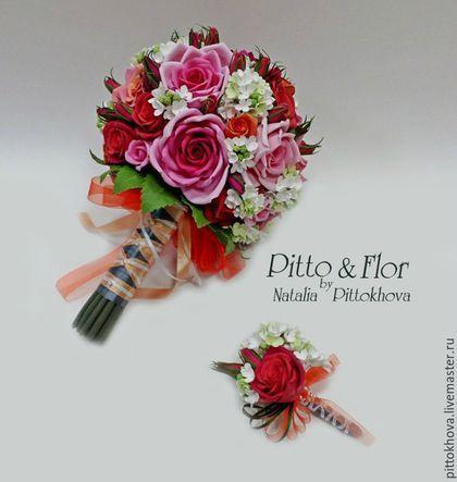 """Свадебные цветы ручной работы. Свадебный букет и бутоньерка жениха """" Красные розы и сирень"""". Наталия Петухова.…"""