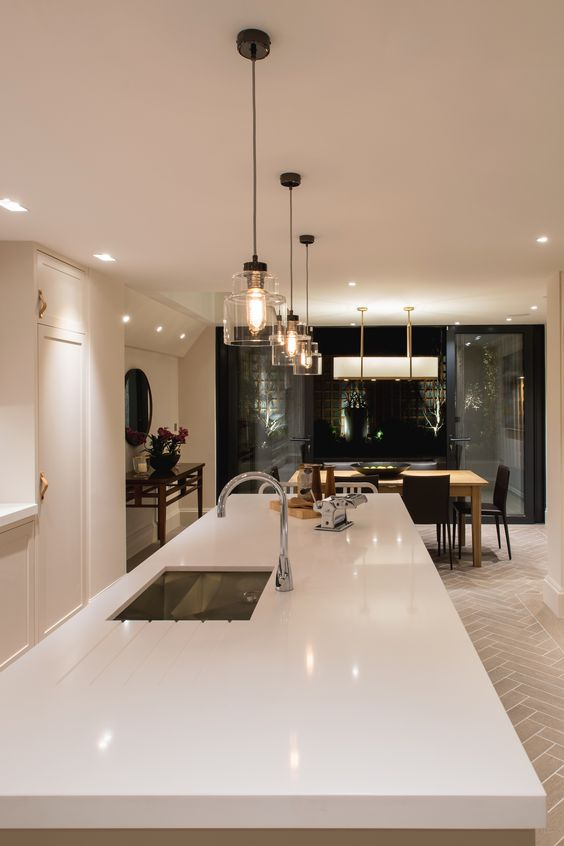 Empire short pendant lights by Rothschild & Bickers over Kitchen Island