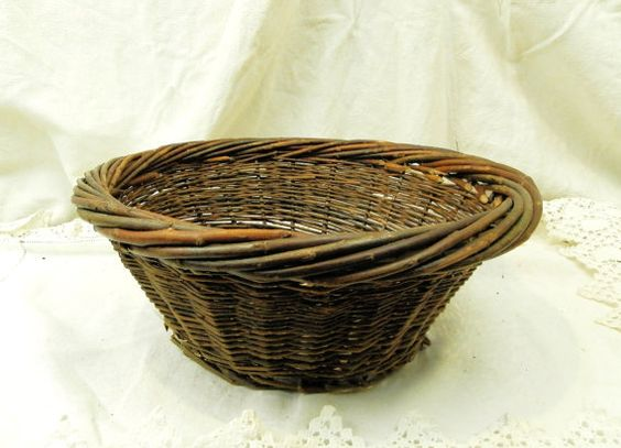 French Antique Primitive Woven Willow Basket  / French  Primitive Country Decor / French Country Decor