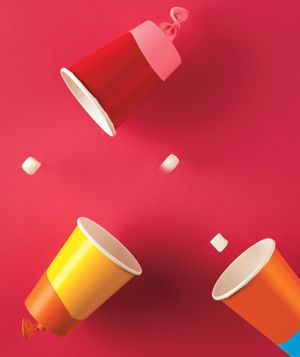 Cup Shooter. Cut off the bottom and replace it with a balloon, now put a marshmallow in and presto!  My boys would go nuts for these!