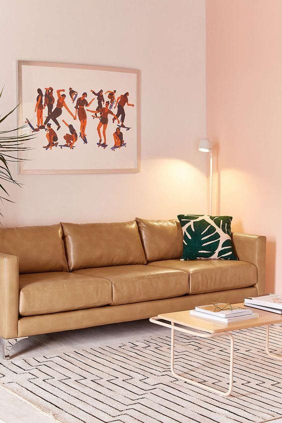 Cách bài trí phòng khách sang trọng, rộng rãi với sofa da tphcm