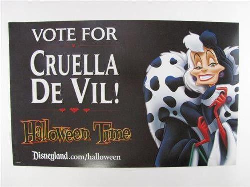 Disney Disneyland Villains Promotional CRUELLA DE VIL Halloween Time Poster
