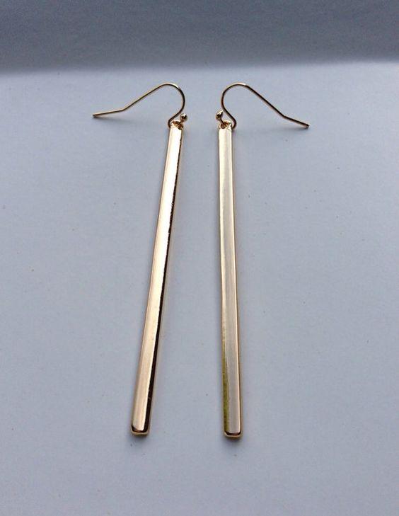 Minimalist Gold Bar Earrings Simple Gold Earrings by ByAvaMonroe