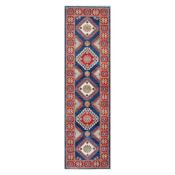 Herat Oriental Afghan Hand-knotted Tribal Vegetable Dye Kazak Navy/ Rug