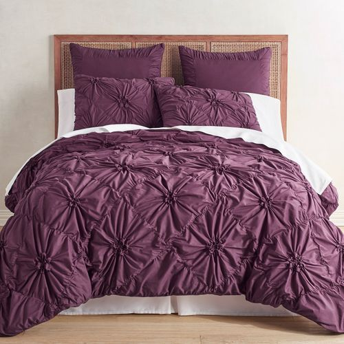 Our Ruched Savannah Bedding In A Pretty Plum Color Gathers 100 Cotton In A Pattern Of Flowers On A F Bed Linens Luxury Duvet Cover Master Bedroom Plum Bedding