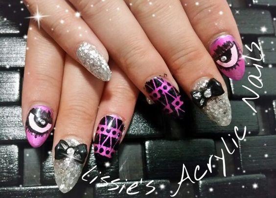 Nail art silver glitter acrylic nails black bows love them I SEE YOU ...