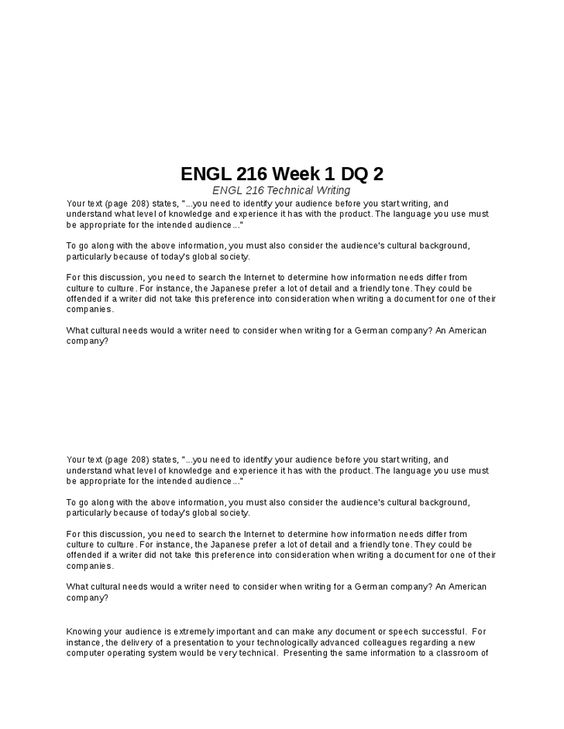 ENGL 216 Week 6 DQ 1 ENGL 216 Technical Writing Pinterest - Formal Report Format Sample