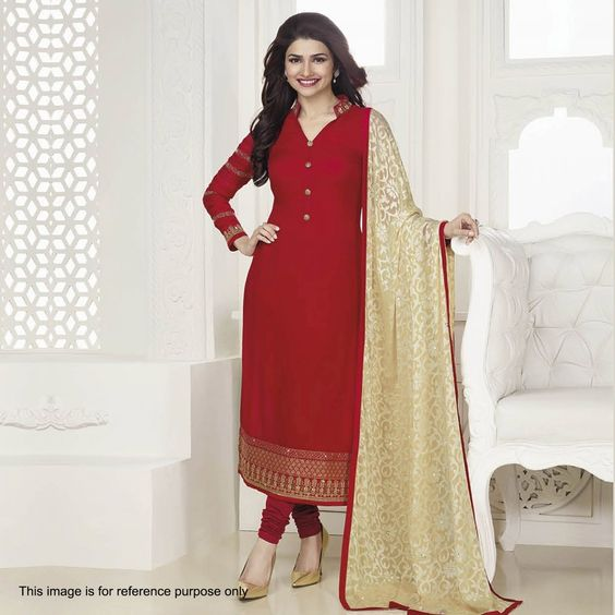 Buy Red Straight Cut Georgette Suit for womens online India, Best