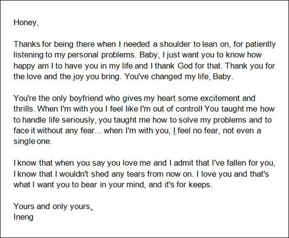 Sample Love Letters to Boyfriend 16 Free Documents in Word PDF – Love Letter Template Word