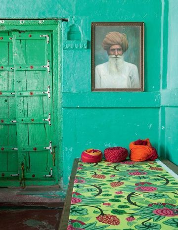 Love this rustic Indian design made interesting with the bold use of color.  So fun!