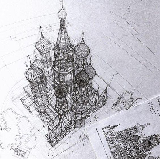 Perspectiva arquitectónica del Kremlin de Moscú ( Моско́вский Кремль ) por la arquitecta Adelina Perspective by Аrchitect Adelina