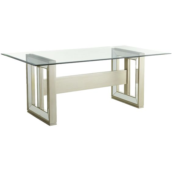 chagne rectangular mirrored dining table base