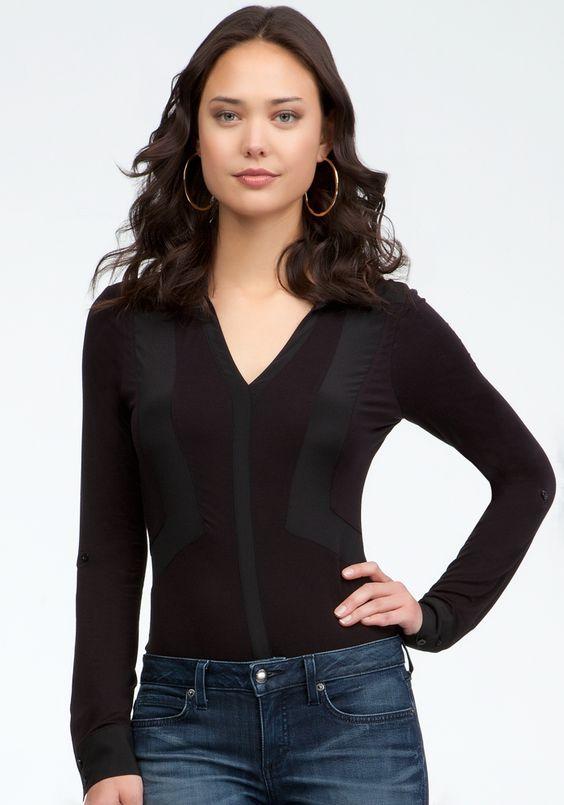 Contrast Insert Button Bodysuit - Blk - L