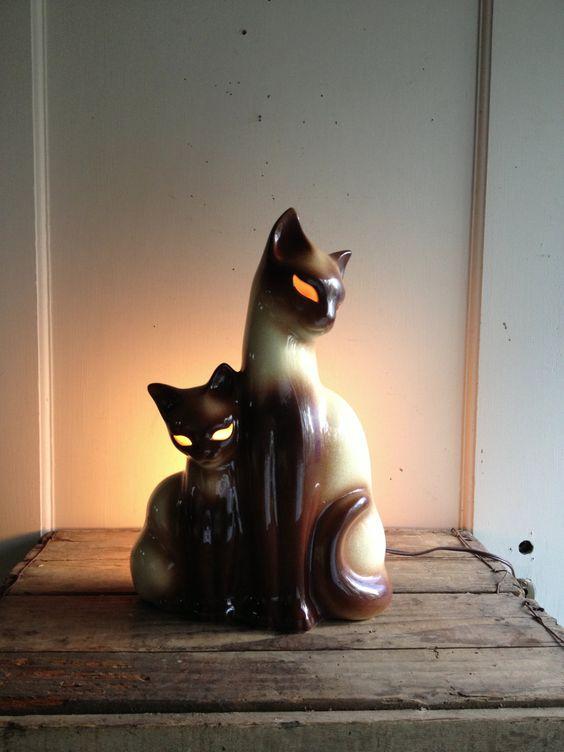 Vintage Ceramic Siamese Cat Lamp 60 00 Via Etsy Cat
