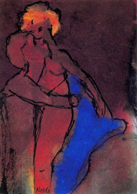 Emil Nolde - Reddish-brown Couple (Embracing)