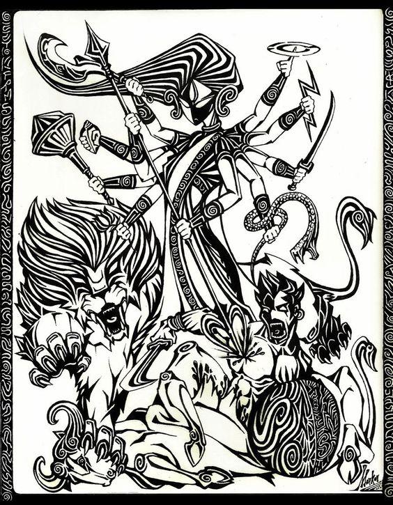 goddess durga sketch divine hindu deities pinterest goddesses and sketches. Black Bedroom Furniture Sets. Home Design Ideas
