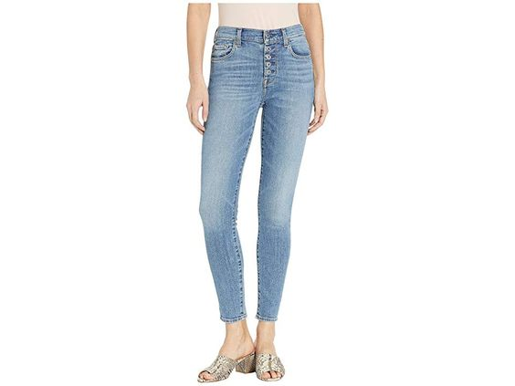 7 For All Mankind High Waist Ankle Skinny With Button Fly In Sloan